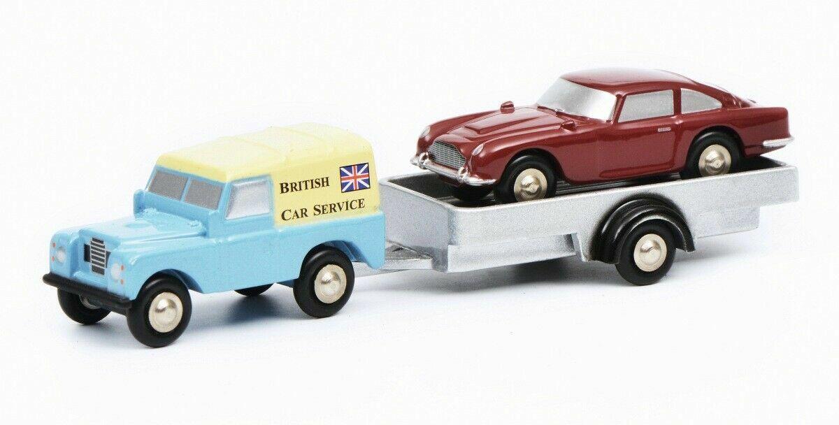 SCHUCO LAND ROVER + TRAILER WITH ASTON MARTIN DB5 BRITISH CAR SERVICE 1 90 SCALE