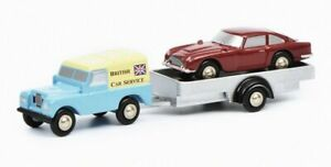 SCHUCO-LAND-ROVER-TRAILER-WITH-ASTON-MARTIN-DB5-BRITISH-CAR-SERVICE-1-90-SCALE