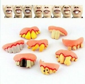 Random 5Pcs FUNNY GAG GIFT Rubber Ugly Fake Teeth COSTUME PARTY Fun Toy