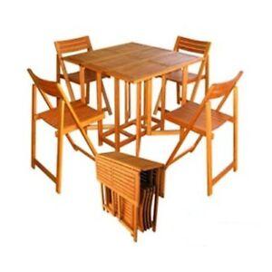 Tavolo In Legno Con Sedie Da Giardino.Dettagli Su Tavolo Da Giardino Con Sedie Pieghevoli Legno Amicasa Art 45 Pratico