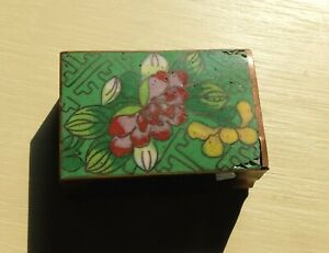 Antique Chinese Cloisonne Enamel Lotus Flower Match Safe ? Copper vs Brass