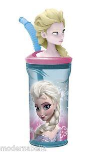 Frozen Anna Disney Bicchiere Tazza con Figura in 3D con cannuccia,gioc<wbr/>o bambini
