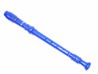 New Blue Soprano Recorder-Baroque Fingering+Fingering Chart+Cleaning Rod