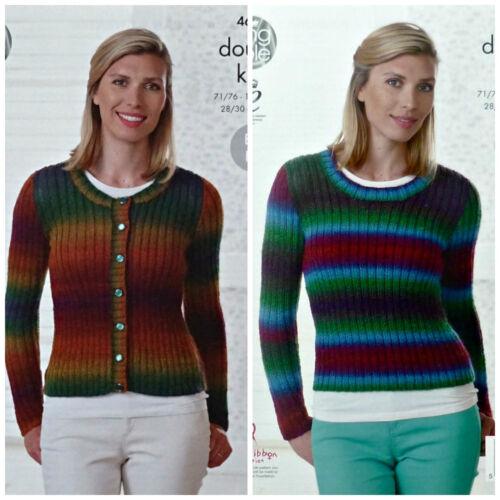 Knitting Pattern Ladies Easy Knit Ribbed Cardigan Jumper Dk King