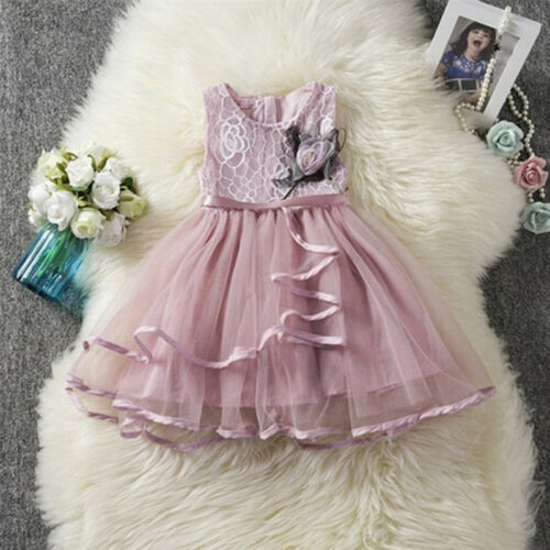 USA Toddler Kids Baby Girl Lace Tutu Dress Princess Party Pageant Flower Dresses