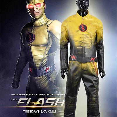 PU Leather The Flash Eobard Thawne Reverse-Flash Gradient Yellow Cosplay Costume
