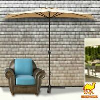 10' Half Patio Umbrella Wall Balcony Sun Shade Garden Outdoor Parasol