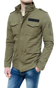 Chaqueta-de-Hombre-Verde-Militar-100-Algodon-Parka-Gabardina-Casual-Nuevo