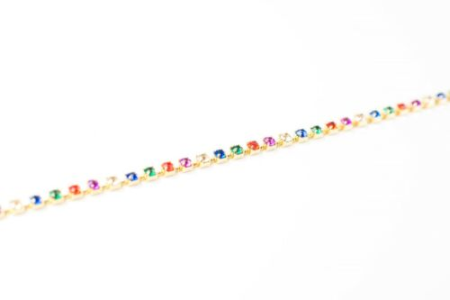 Lobster clasp at one end 2 × 83cm Long Multi Colour Rhinestone Gold Chain Trim
