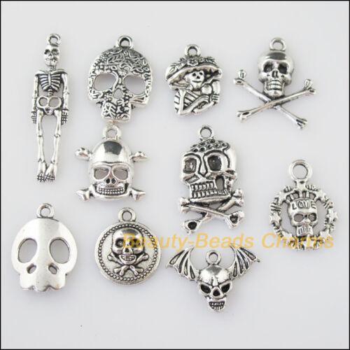 30Pcs Antiqued Silver Tone DIY// Halloween Skull Mixed Charms Pendants