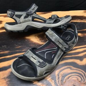 Details about ECCO Yucatan Mens Size 48 13 UK Gray Camo Offroad Leather Strap Sandals Flats