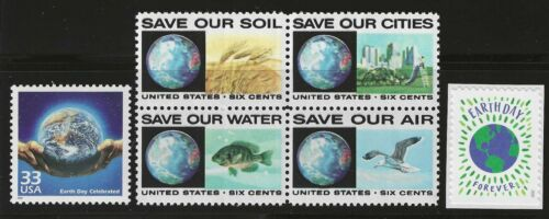 EARTH DAY 1970-2020 50th ANNIVERSARY SET OF 6 U.S MINT CONDITION STAMPS