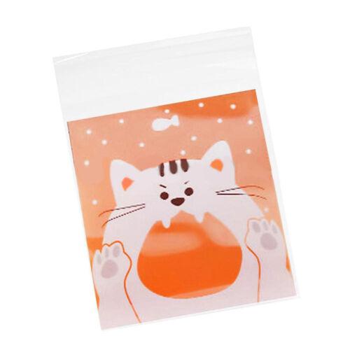 AM/_ EG/_ 100PCS SEAL BAG CARTOON CAT ANIMAL SELF-ADHESIVE CHOCOLATE COOKIE CANDY