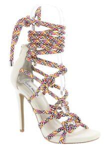 033d7e97051 STEVE MADDEN Dream Ankle Tie White Multi High Heels Sandals NEW ...