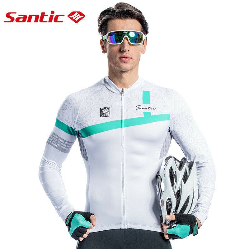 Santic Men Sun Predection Outdoor Cycling Top Jerseys Sports Long Sleeve Pro Fit