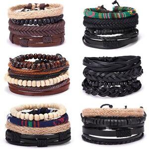 4pcs-set-Men-Punk-Leather-Bead-Bracelet-Ethnic-Weave-Bangle-Jewelry-Gift-Party