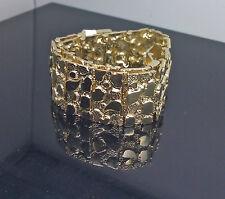 New 10K Yellow Gold Men's Nugget Link Bracelet, Cuben, Rope, Franco