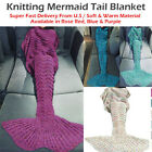 Adult Mermaid Tail Knitted Hand Crocheted Soft Warm Sleeping Bag Wrap Blanket
