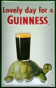 Guinness-Turtle-Blechschild-Schild-3D-gepraegt-gewoelbt-Metal-Tin-Sign-20-x-30-cm