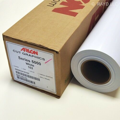"24/"" X 50 Yards White Arlon 5000 Series Cut Graphics Sign Cutting Vinyl 102 Roll"
