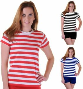 36b582f1a49dab Ladies Black Blue Red White Striped T Shirt Womens Crew Neck Short ...