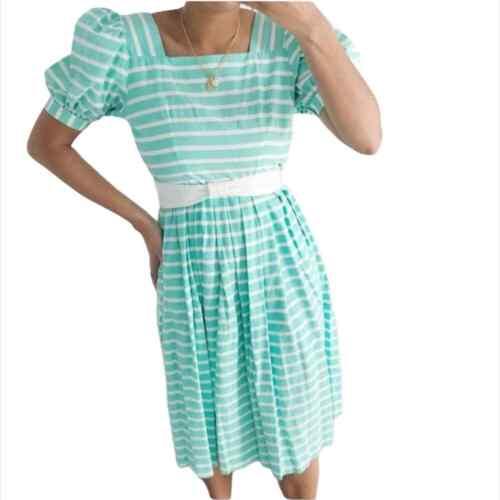 Medium Vintage 80s Cornflower Blue /& White Striped 34 Dolman Sleeve Dress wPatch Pockets by Lanz Originals