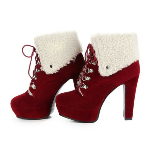 Women/'s Platform Chunky Suede Ankle Boots Lace Up High Block Heel Casual Shoes