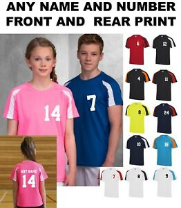 Kids-Personalised-Contrast-Sport-T-Shirt-Team-Kit-NAME-amp-NUMBER-Football-PE-Gym