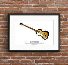 Paul McCartney's 1963 Hofner 500/1 Violin Bass ART POSTER A3 size