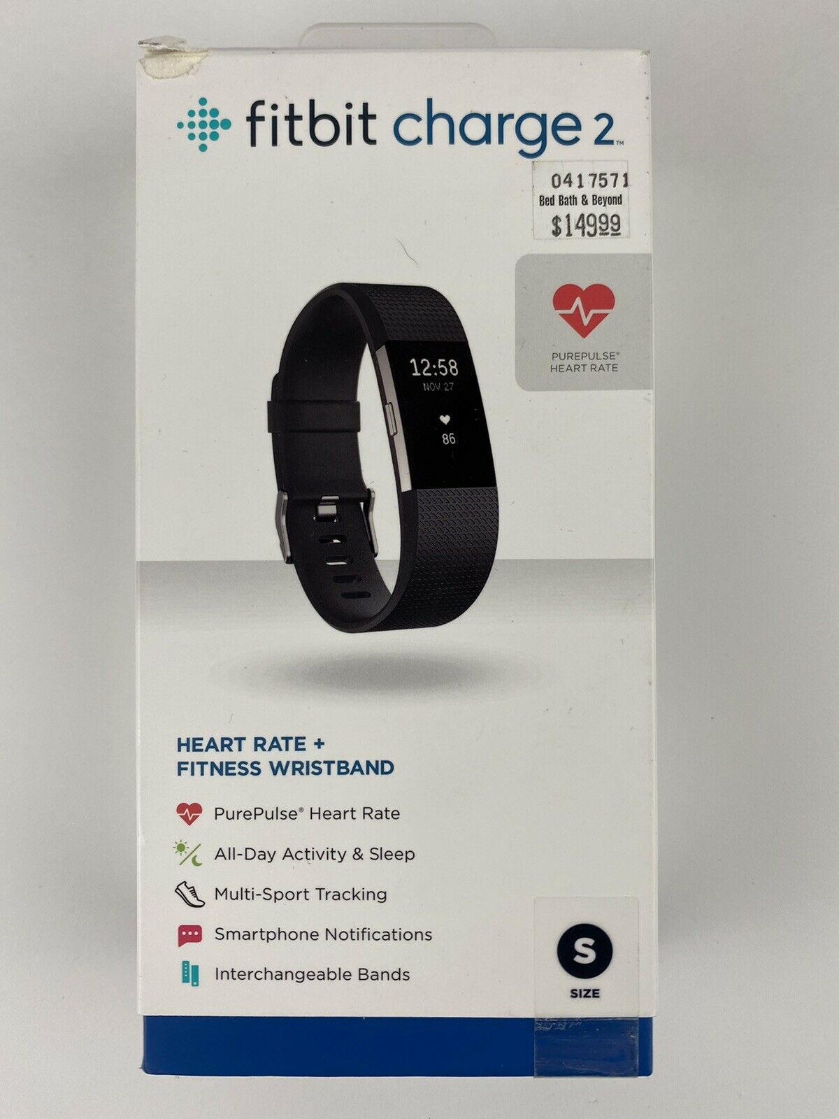 Fitbit Charge 2 Heart Rate Monitor Fitness Activity Tracker Small Black