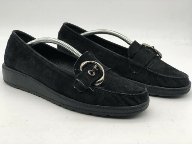 Stuart Weitzman Womens Loafers Size 9.5 M Comfort Black Suede Wedge Buckle