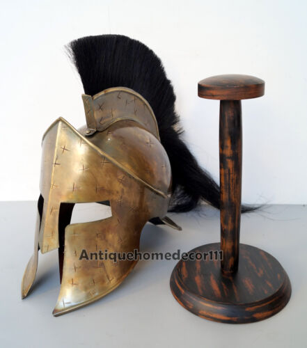 Medieval King Leonidas 300 Spartan Helmet Armor Antique Finish With Wooden Stand