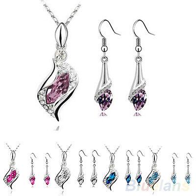 Women's Beautiful Angel Elf Crystal Pendant Necklace Drop Earrings Jewelry Set