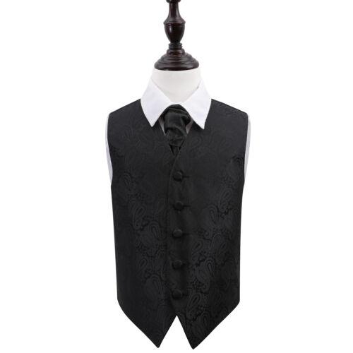 DQT Floral Paisley Silver Mens Wedding Waistcoat /& Cravat Set