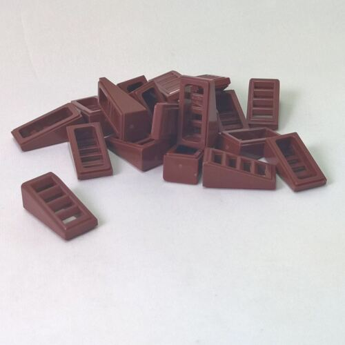 20 NEW LEGO Slope 18 2 x 1 x 2//3 with 4 Slots Reddish Brown