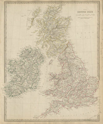 Map Of Ireland Counties And Towns.British Isles Great Britain Ireland Uk Counties Towns Rivers Sduk 1844 Map Ebay