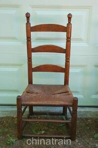vintage antique 19th cent 1800s sausage turned rush seat