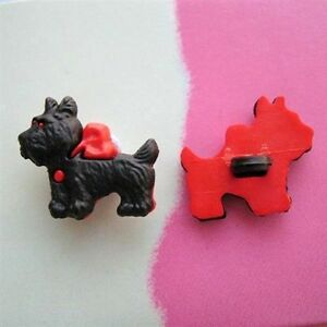 Black Scottie Dog Buttons