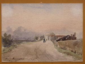 Louis-BONNETON-1851-1933-Watercolour-1899-Autographed-school-of-Crozant