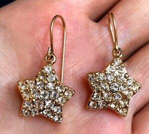 Details About Swarovski Swan Crystal Star Dangling Pierced Hook Earrings Gold Tone