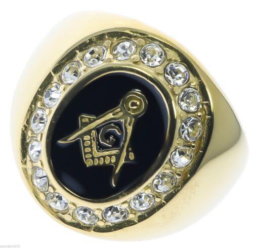 Masonic Mason Oval Black Enamel men/'s 17 cz Ring 18K yellow gold overlay size 13