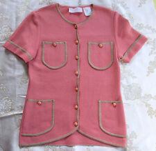 NINA RICCI PARIS 4 Pocket Gold Trim Cardigan Sweater Short Slveeves Vintage 10