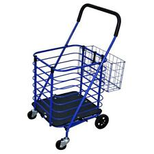 Blue Steel Folding Shopping Cart Swivel Caster Padded Handle With Accessory Basket