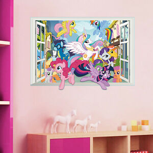 Image Is Loading Cartoon My Little Pony Kids Girl 3D Window