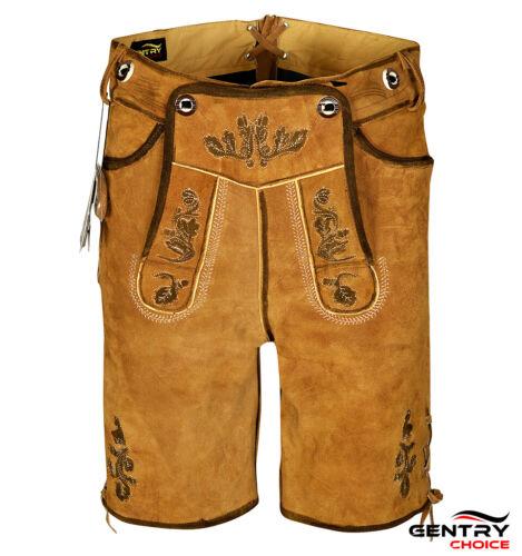 Bavarian Men Oktoberfest Costume Leather Lederhosen German Outfit Short Oak Art