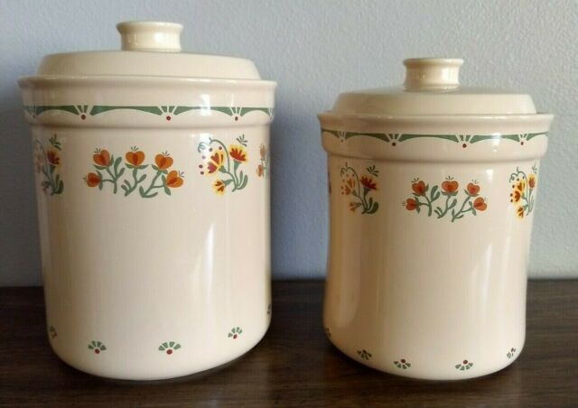 White Metal Canister Set Of Three Coffee Flour Sugar Jars With Wood Lids For Sale Online Ebay