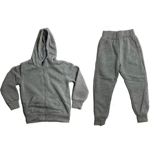 Boys Kids Plain Tracksuit Hoodie Joggers Fleece Jogging Bottoms Hooded School PE