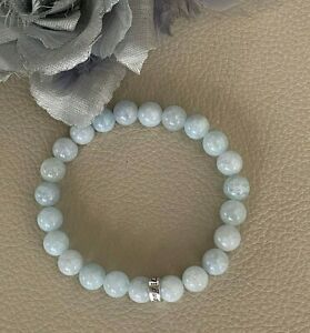 7-5-034-Blue-Aquamarine-Sterling-Silver-039-Long-Life-039-Charm-Stretch-Bracelet