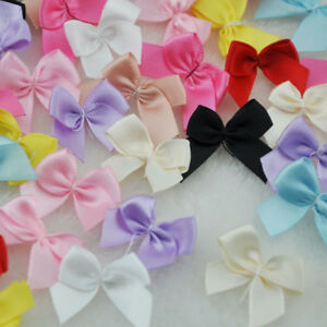 Mini-Satin-Ribbon-Flowers-Bows-Gift-Craft-Wedding-Decoration-ornament-50pc-A0176