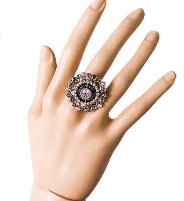 Adjustable Statement Ring By Anne Koplik, Pink Crystals, MADE IN USA, Pageant